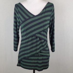 Vince Camuto Stripe Wrap Asymmetric Top LG